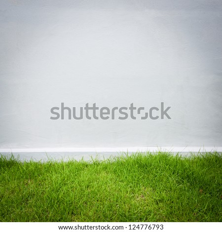white wall and green grass background - stock photo