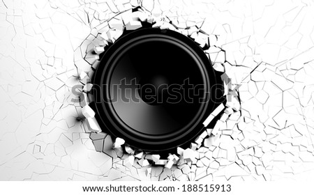 White wall breaks from sound with loudspeaker illustration - stock photo
