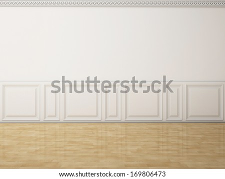 White wall in a classic style  and reflection wooden floor - stock photo