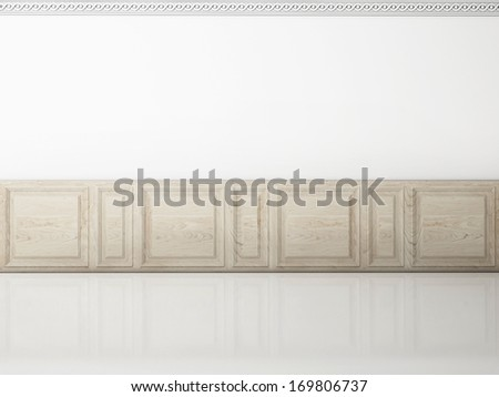 White wall in a classic style wooden panel and reflection floor - stock photo