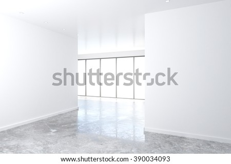 White wall in empty loft room with big windows and concrete floor, mock up, 3D Render - stock photo