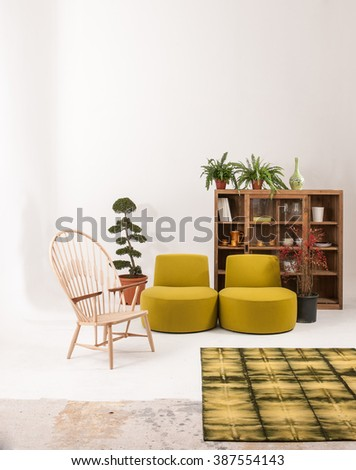 white wall modern living room interior decor green armchair and wooden bookshelf with green rug concept - stock photo