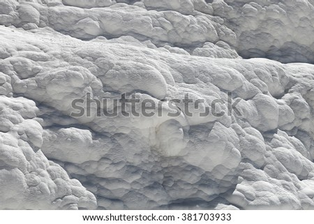 White wall on travertines, textured background at Pamukkale reserve - stock photo