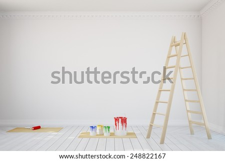 White wall with paint cans and ladder during renovation in old room (3D Rendering) - stock photo