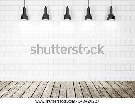 white wall, wood floor - stock photo
