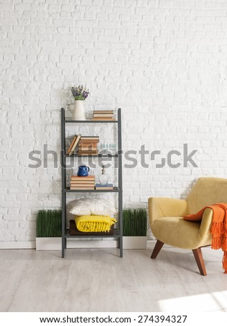 white walls and libraries - stock photo