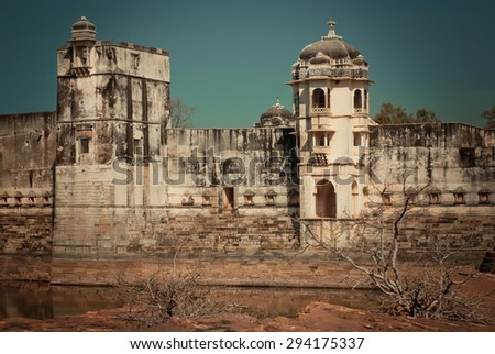 White walls of historical Padmini's palace of the Chittorgarh Fort. It is an UNESCO World Heritage Site under the group Hill Forts of Rajasthan, India. - stock photo