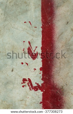 White walls with black stains on the surface and red. - stock photo