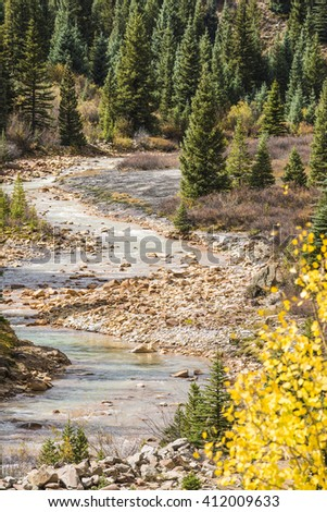 White water Mineral Creek in Colorado, USA during the fall with golden aspens - stock photo
