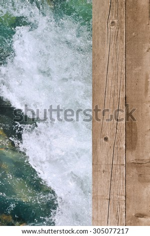 White water passing under a wooden bridge - stock photo