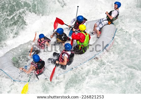 White water Rafting as extreme and fun sport - stock photo