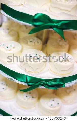 White wedding cakes - stock photo