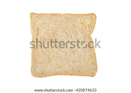 White whole wheat bread slice isolated on white background with clipping path