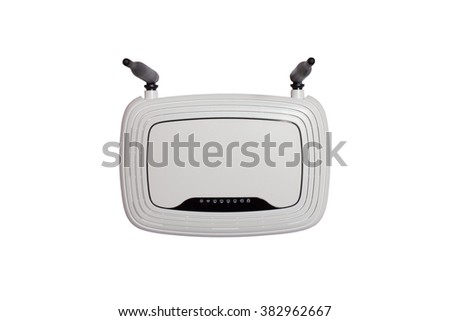White WI-FI router with two antennas isolated on white background - stock photo