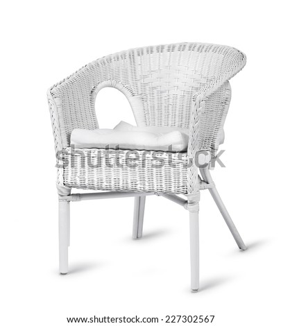 White wicker chair isolated on white background - stock photo