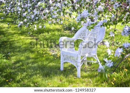 White wicker chair under the shade of apple trees. - stock photo