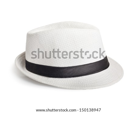 White wicker hat for the summer on an isolated background - stock photo