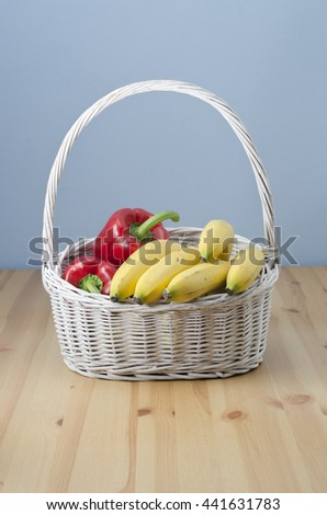 White wicker shopping basket - stock photo