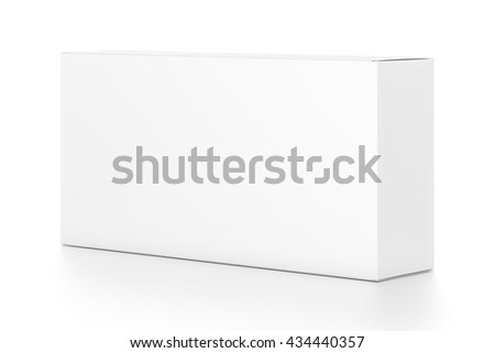 White wide horizontal rectangle blank box from side angle. 3D illustration isolated on white background. - stock photo