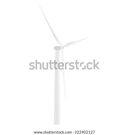 White wind turbine raster icon isolated, wind energy, wind power - stock photo