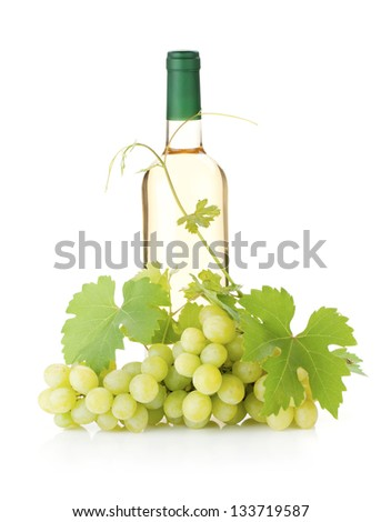 White wine bottle and grapes. Isolated on white background - stock photo