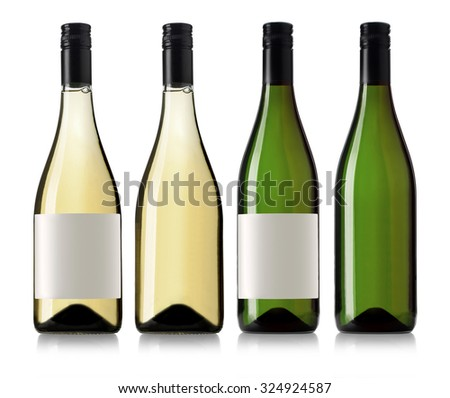White wine bottle in clear glass bottle with blank label and no label on white background - stock photo