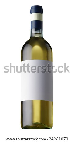 white wine bottle  isolated - stock photo