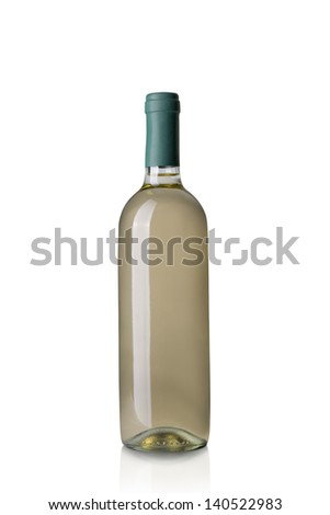 white wine bottle isolated on white background - stock photo