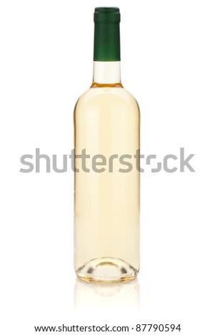 White wine bottle. Isolated on white background - stock photo