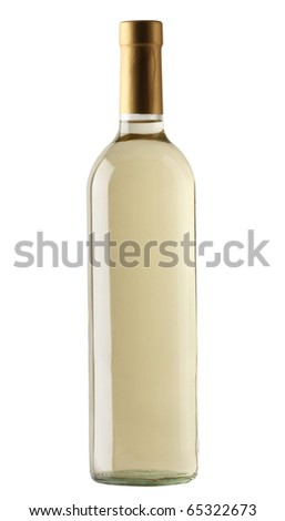 White wine bottle isolated over white background - stock photo