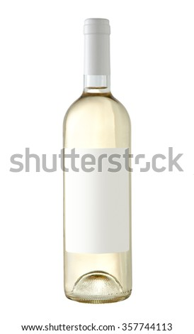 White wine bottle isolated with blank label for your text or logo - stock photo