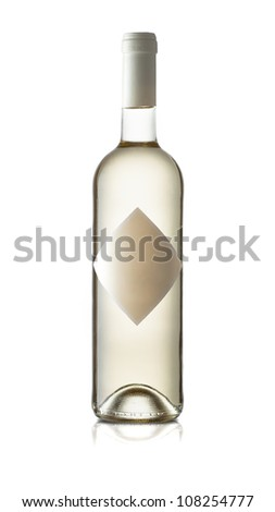 White wine bottle with white background and reflective surface - stock photo