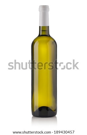 White wine bottles isolated on white background - stock photo