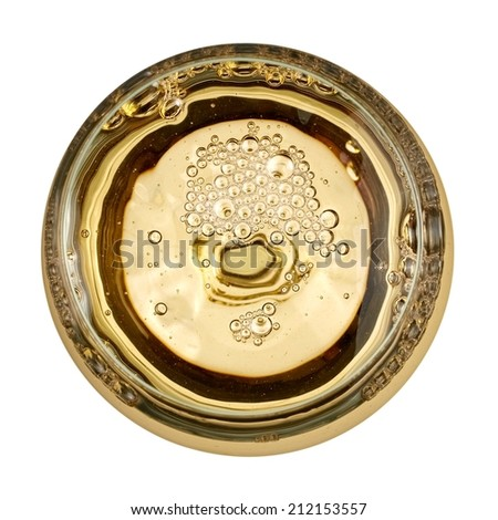 White wine glass with bubbles, top view - stock photo