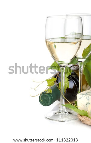 White wine glasses and cheese. Closeup. Isolated on white background - stock photo