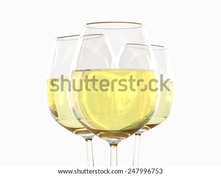White wine in a glass - stock photo