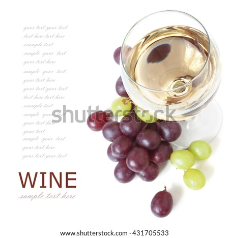 White wine in glasses and grapes with leaves isolated on white background - stock photo