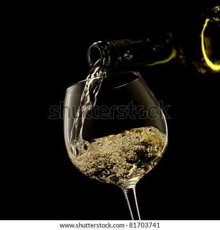white wine on a black background - stock photo