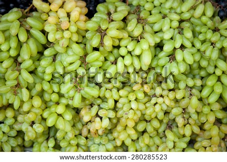 White wine organic grapes in a market - stock photo
