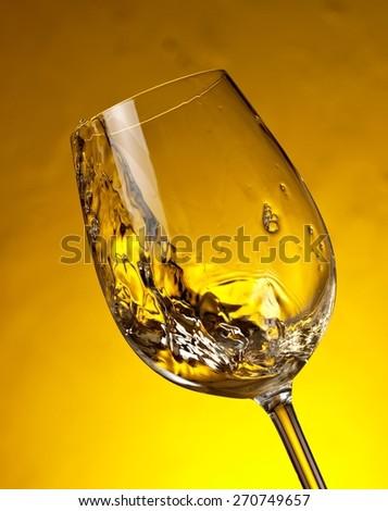 White wine plash - stock photo