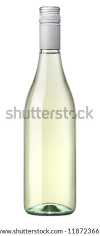 White wine with a clear glass bottle - stock photo