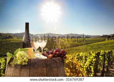 White wine with barrel on famous vineyard in Chianti, Tuscany, Italy - stock photo