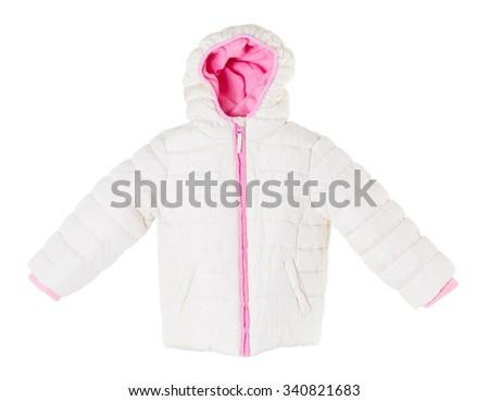 White winter jacket. Isolated on a white background. - stock photo