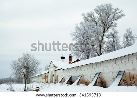 White winter trees and big wall in Uglich