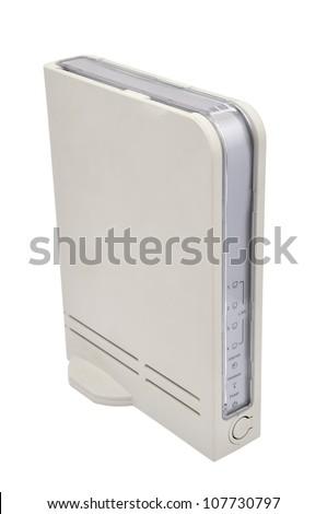 white wireless router on a white background - stock photo