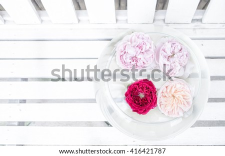 White wood background with roses in the water. Fresh roses in a bowl of water in pastel color panoramic background - stock photo
