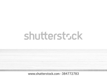 White wood table top panel isolated on white background, use for display or montage products for advertisement - stock photo