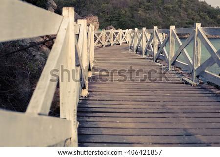 White wooden Bridge in koh lan ,Thailand,retro tone - stock photo