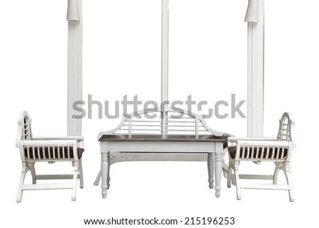 White wooden chairs and wooden table isolated on white background - stock photo