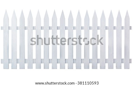 White wooden country style fence isolated on white background. Object with clipping path. - stock photo